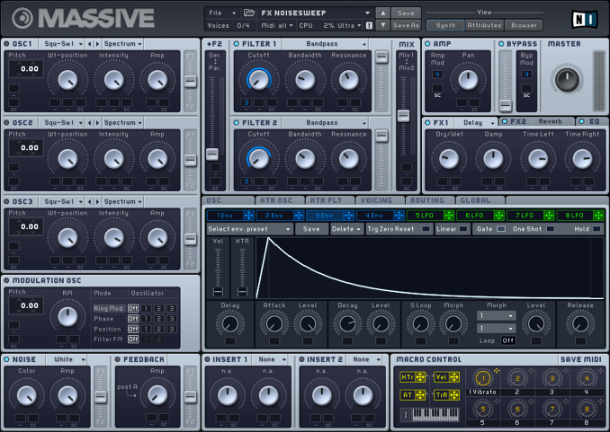 Native Instruments Massive noise sweep