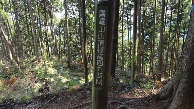 青梅丘陵ハイキング 雷電山 山頂 標高