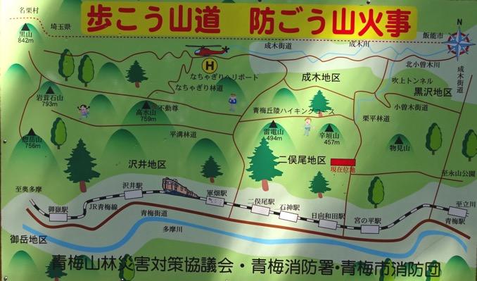 青梅丘陵ハイキング 地図 コース