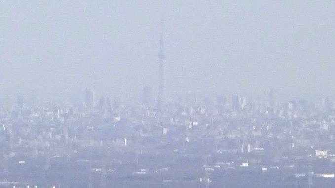 越上山 登山道 展望 東京スカイツリー