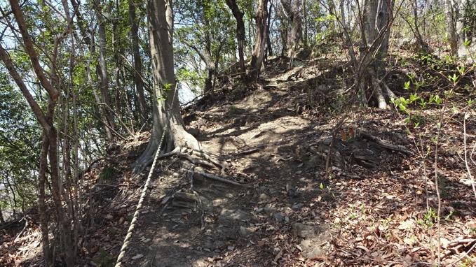 陣見山 登山 ロープ場